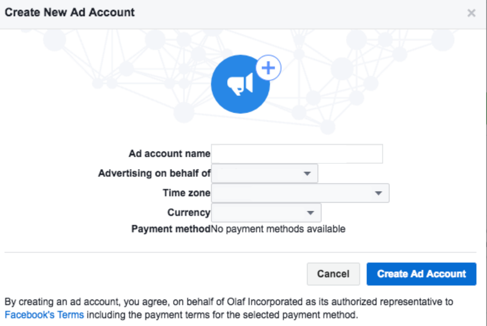 Creating Ad accounts on Facebook Business manager
