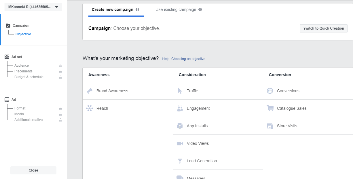 Choose Your Objective- advertising on Instagram using Facebook Ads Manager