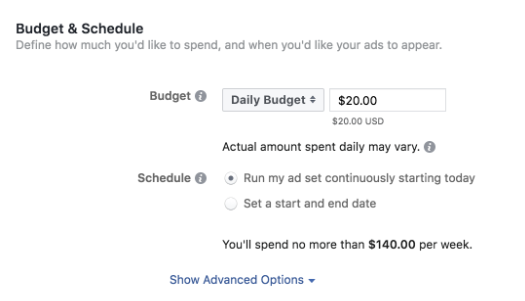 Budget and schedule- advertising on Instagram using Facebook Ads Manager