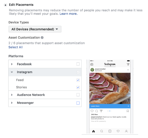 Ad Placement- advertising on Instagram using Facebook Ads Manager