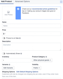 Adding Products to your Shop on Facebook