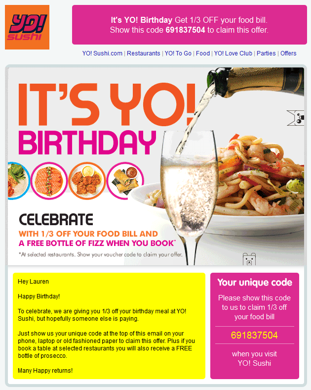 Yo's Birthday Emails to Boost Customer Engagement for your Restaurant