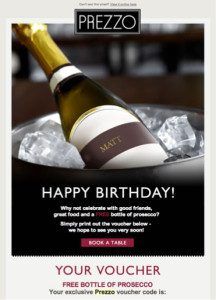 Prezzo's Birthday Emails to Boost Customer Engagement for your Restaurant