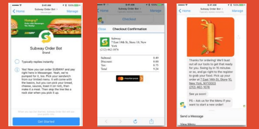 Subway- Chatbots For Your Restaurants