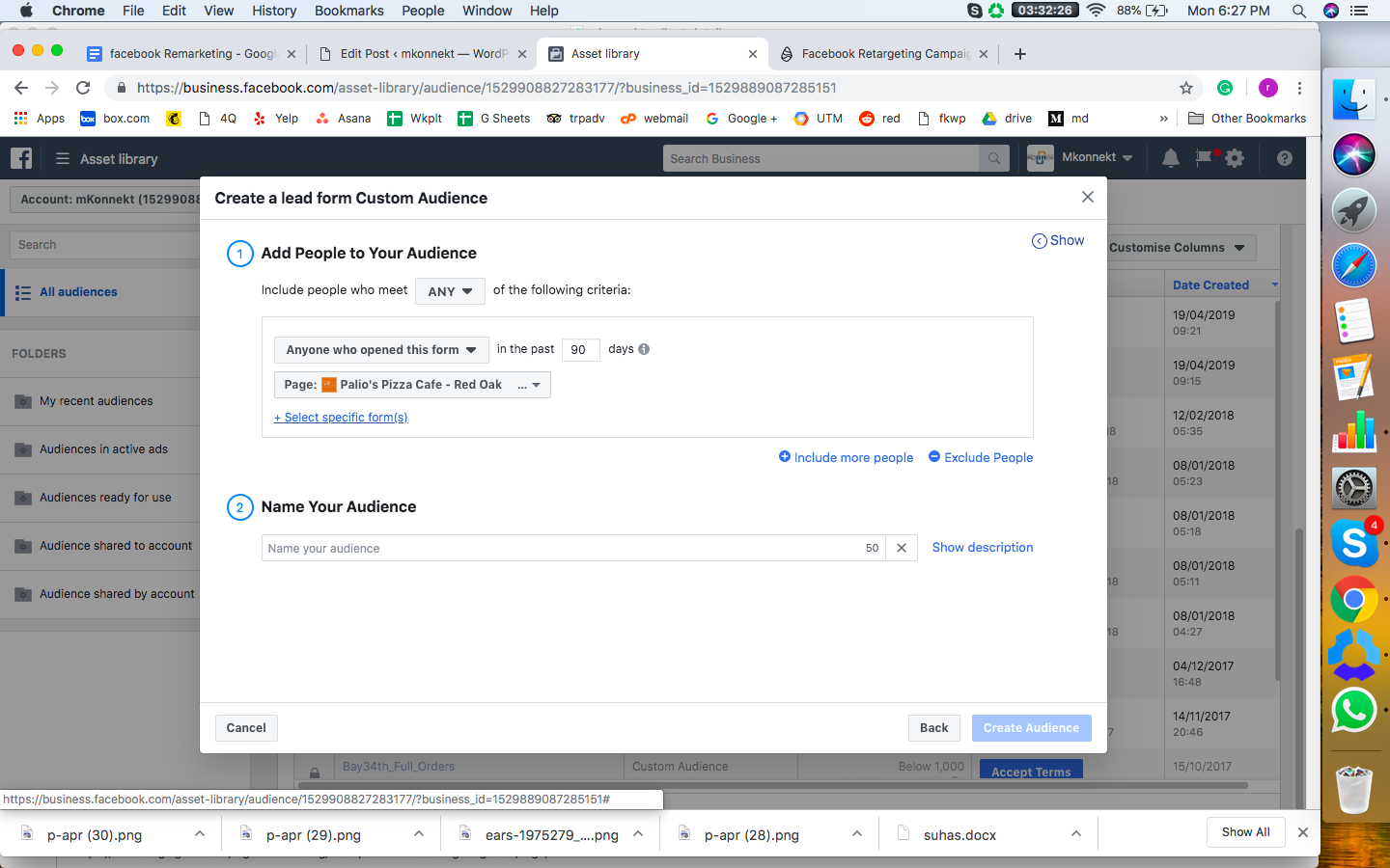 Creating Retargeting  Ads on Facebook; Creating a custom audience based on lead forms