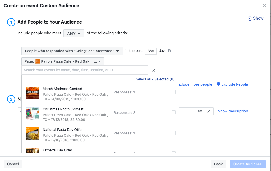 Creating Retargeting  Ads on Facebook; Creating a custom audience based on event interaction