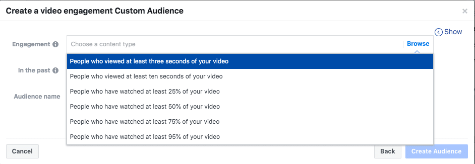 Creating Retargeting  Ads on Facebook; Creating a custom audience based on video view