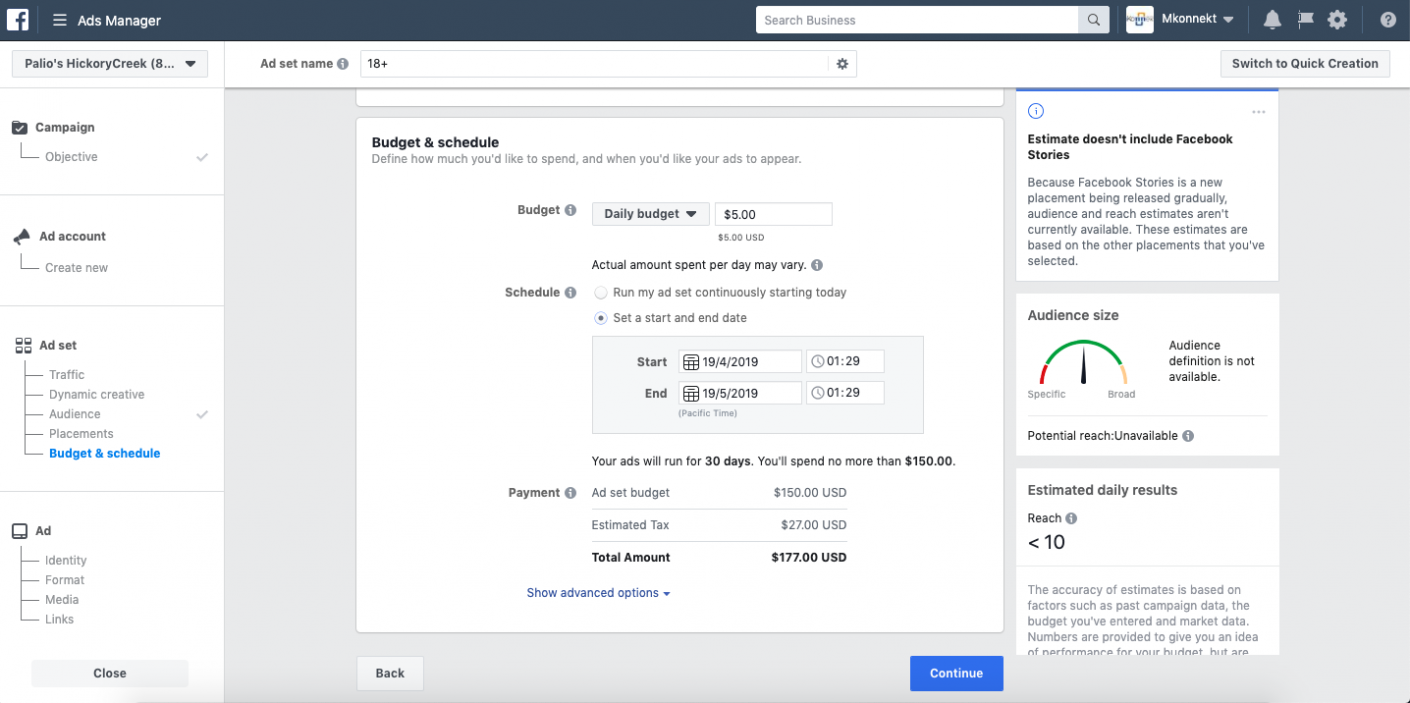 Creating Retargeting  Ads on Facebook; Setting up a budget