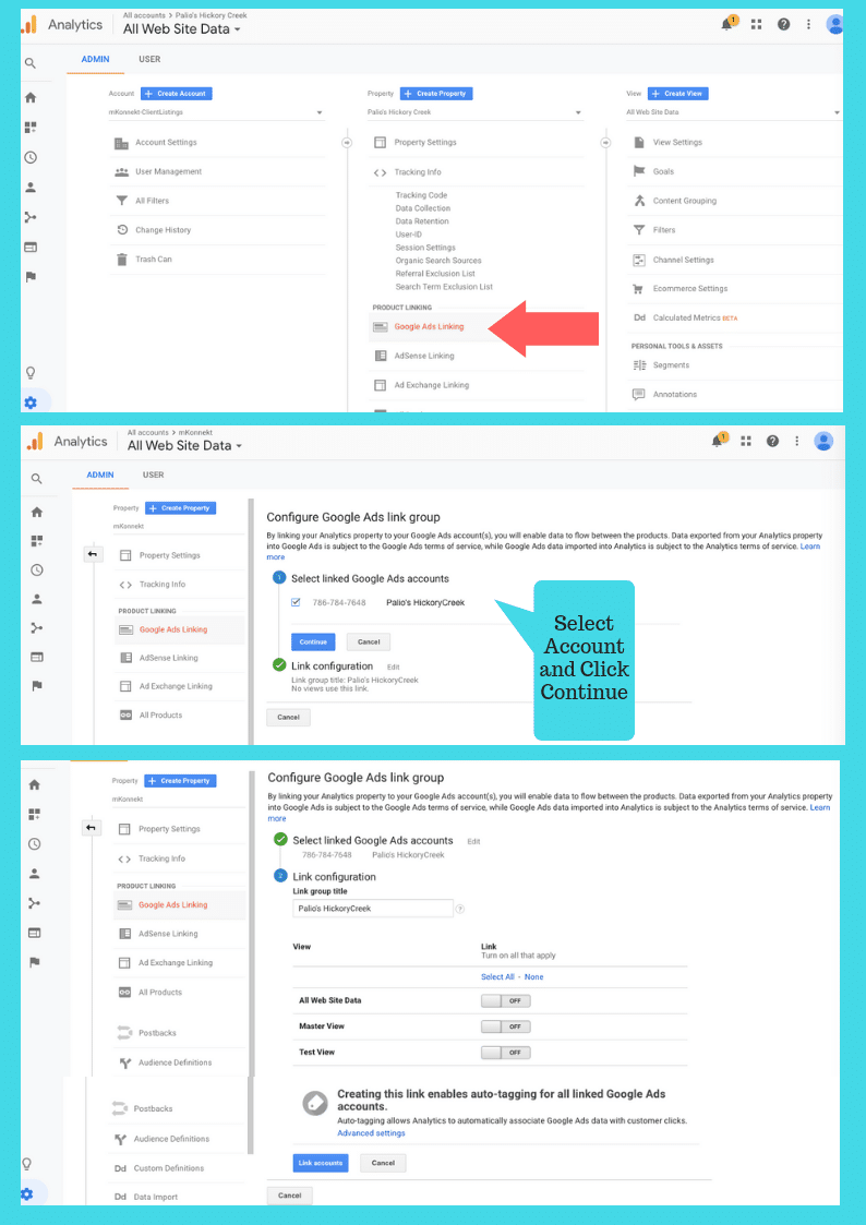 Connecting Your Google Analytics Account to Your Google Ads Account.