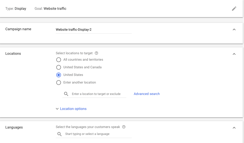 Setting Up Your Google Re-Marketing Campaign- Language and location filters