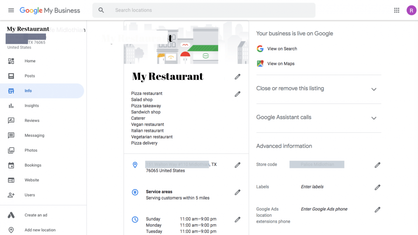 Updating NAP Info - Optimize Google My Business Listing for your Restaurant