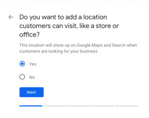 Selecting Business address- Optimize Google My Business Listing for your Restaurant