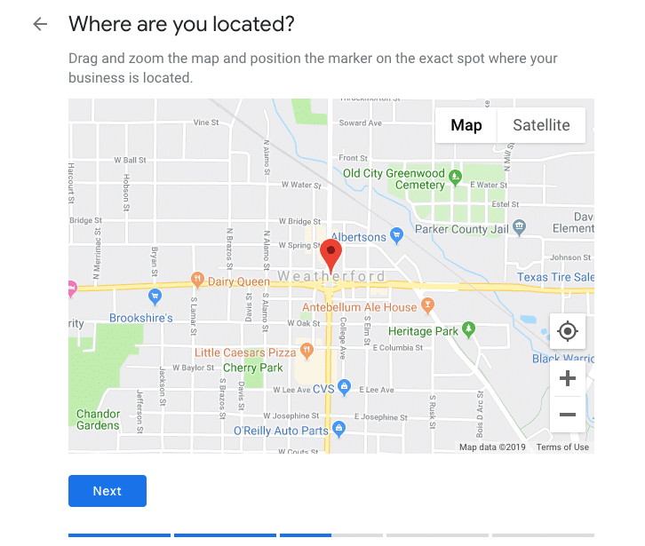 Selecting the location- Optimize Google My Business Listing for your Restaurant