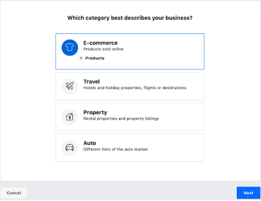 Selecting Business Category in Facebook Business Manager