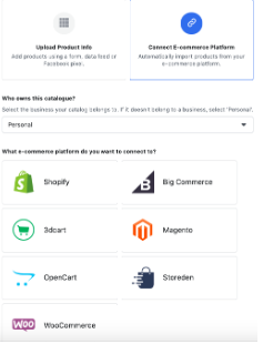 Integrating with e- commerce platforms in Facebook Business manager