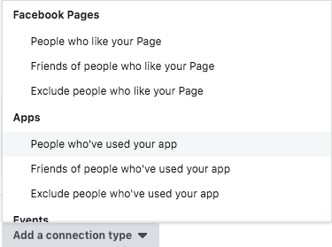 Connection type; A Beginner's Guide to Advertising on Facebook