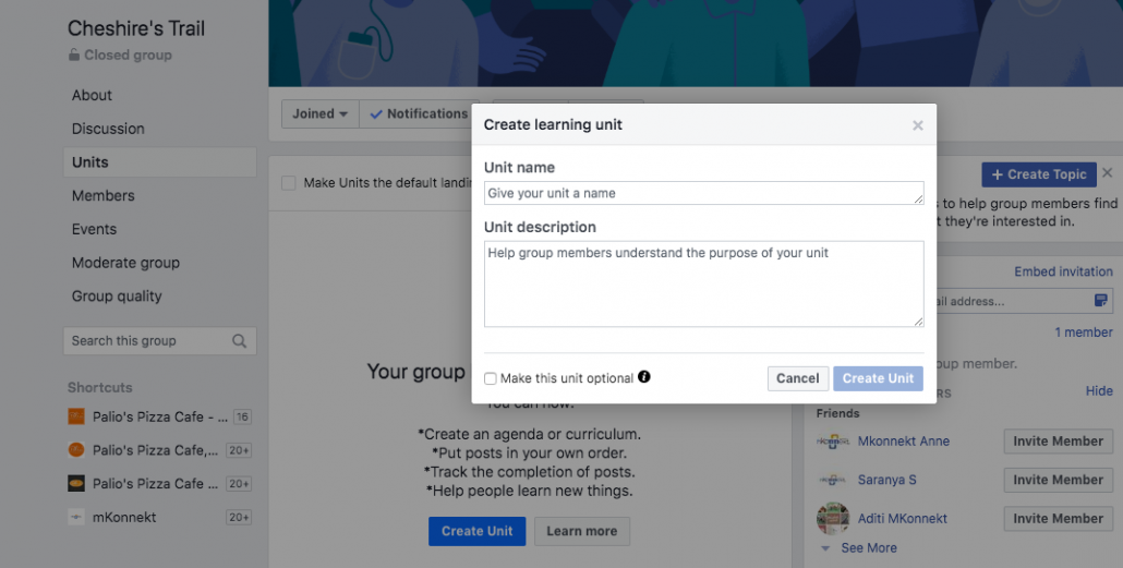 Creating learning Units On Facebook Groups