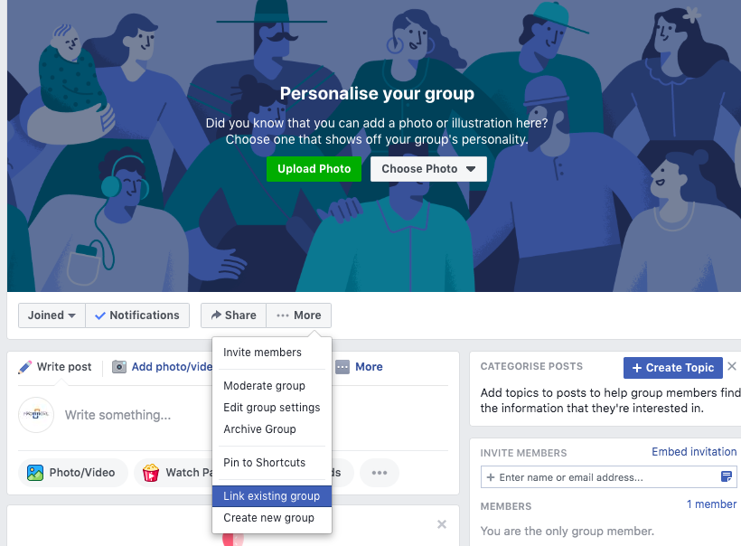 Group-to-group linking on Facebook groups