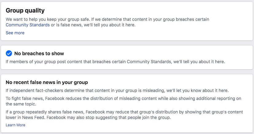 Group Quality on Facebook groups