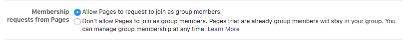 Allowing Pages to join your Facebook Group