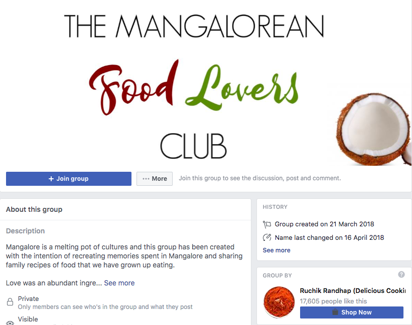 Mangalorean Food Lover's Club; Using Facebook Groups for Business