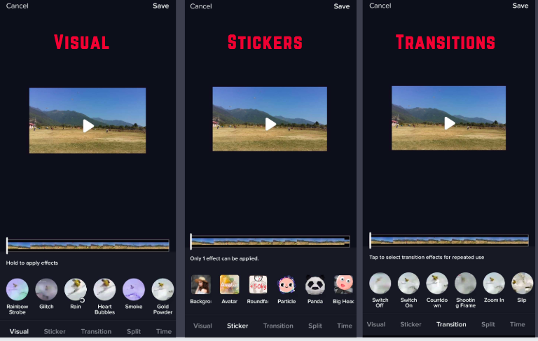 Creating Posts on TikTok: stickers, filters and Transitions