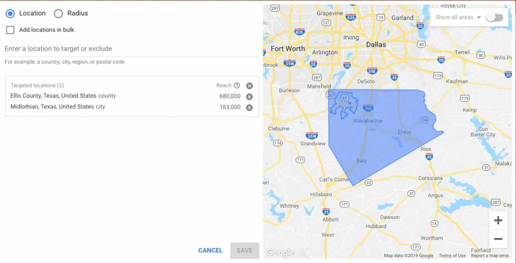 Geotargeting Setup on Google Ads- Selecting a location on Google Ads