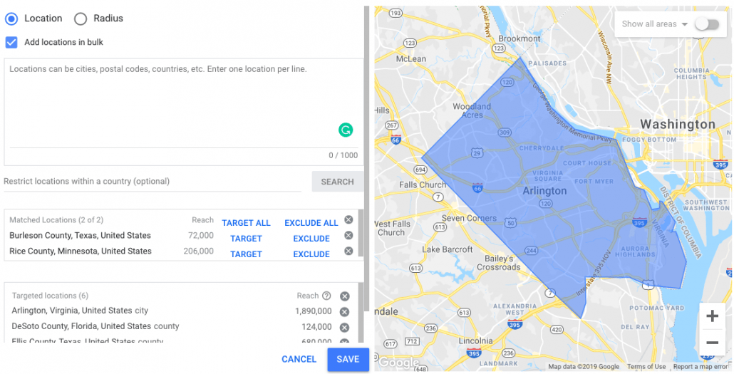 Geotargeting Setup on Google Ads- Add locations in Bulk