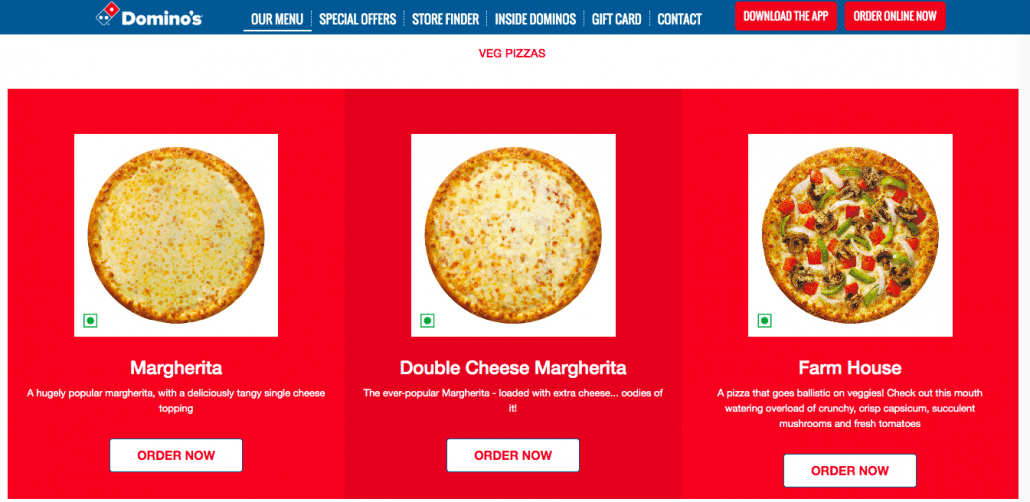Domino's Menu Page: Optimize your website for increasing Your Restaurant's Online Orders