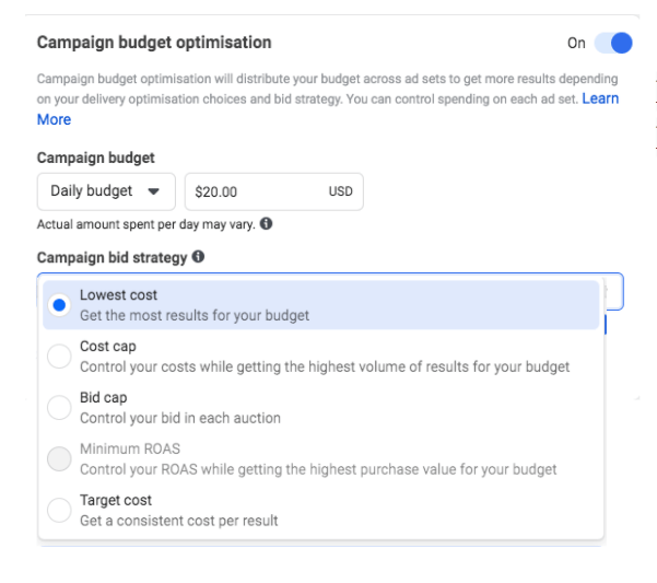 Campaign Budget Optimization and bidding on Facebook Ads