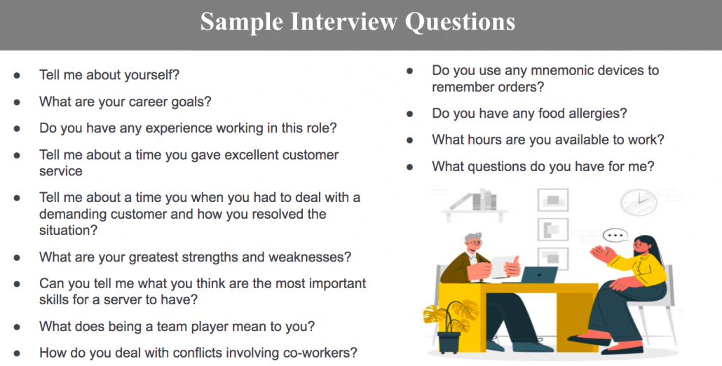 How to Find and Hire the Best Staff For Your Restaurant-Sample Interview Questions